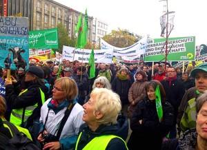 Während der Agrardemo in Hannover im November 2012