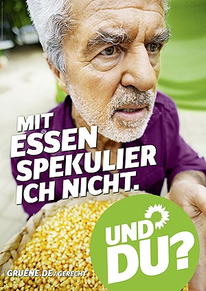 Plakat: Mit Essen spekulier ich nicht.