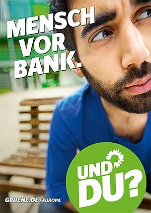 Mensch vor Bank.