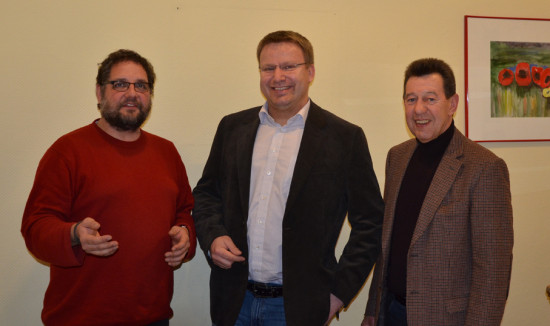 Begegnung mit Frank Klaß, Samtgemeindebürgermeisterkandidat von Sögel (mitte) und Bernhard Ellermann, OV-Vorsitzender der GRÜNEN in Sögel (rechts)
