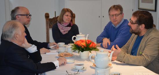 V.l.n.r: Manfred Adrian (Verleger), Maik Michalski (Leiter Lokales), ?, Peter Sokolowski, ich