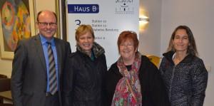 V.l.n.r.: Thomas Breidenbach (Geschäftsführer Josef Stift), Maria Klein-Schmeink (MdB), Marlis Düssmann, Bettina Pinzon-Assis
