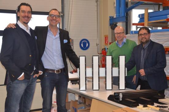 Bei der Deutschen Lichtmiete mit Alexander Hahn, Marco Hahn und Christian Effenberger im Lager in Tweelbäke.