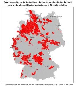 Abbildung: Grundwasserkörper in schlechtem chemischen Zustand nach Wasserrahmenrichtlinie (>50 mg/l Nitrat) im Jahr 2010 Quelle: SRU 2015, S. 71; Datenquelle Völker 2014