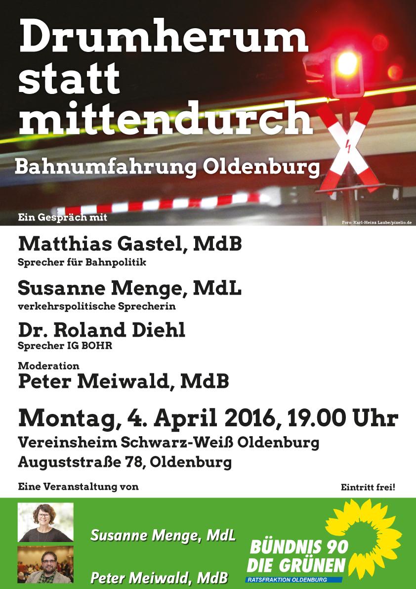 Drumherum statt mittendurch - EinGespräch mit M.Gastel (MdB), S.Menge (MdL) u. Dr. R.Diehl, Mo 4.4.16, 19.00 Uhr