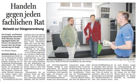 Der Artikel in der Rheiderland-Zeitung über den Besuch vom GRÜNEN Landratskandidaten für Leer, Tammo Lenger und mir am Montag.