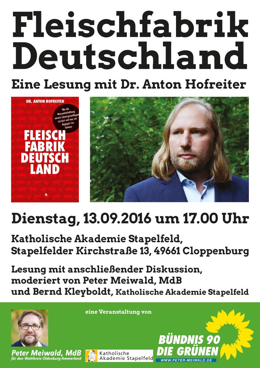 Fleischfabrik Deutschland - Lesung mit Dr. Anton Hofreiter