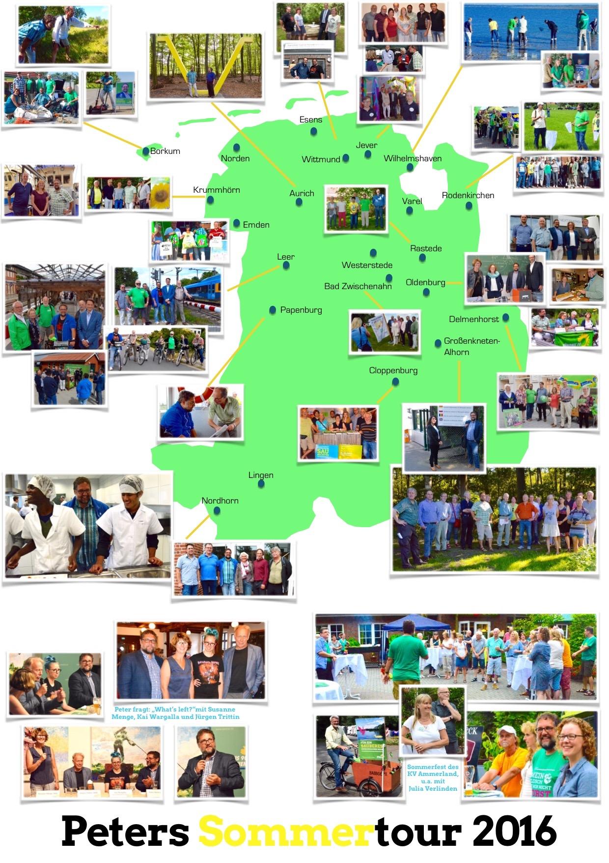 47 Termine in ganz Weser-Ems in zwei Wochen: Meine Sommertour war auch in diesem Sommer eine Ansammlung vieler Begegnungen, Eindrücke und Informationen. Mein Team hat daraus dieses tolle Tourposter gestaltet, im Original hat es die Größe DIN A1.